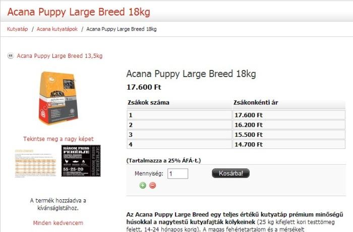 Acana Puppy Large Breed 18 kg - többzsákos árak