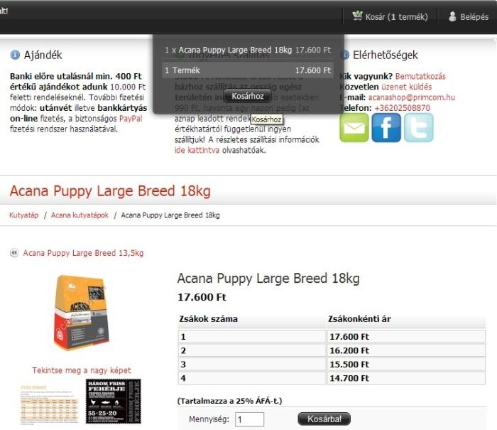 Acana Puppy Large Breed 18 kg - 1 zsák kosárba helyezése