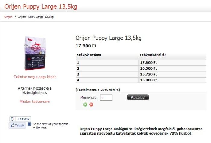 Orijen Puppy Large Breed 13,5 kg - többzsákos árak